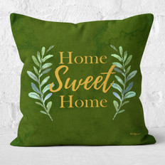 Green Emerald Watercolor Home Sweet Home Throw Pillow