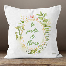 White Linen Le Jardin de Fleurs Throw Pillow