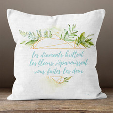 White Linen and Facet French Throw Pillow