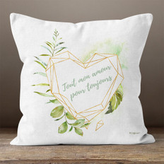 White Linen and Facet Amour Throw Pillow