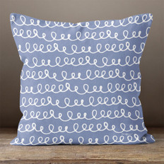 Blue with White Hand Drawn Line of Loops Throw Pillow