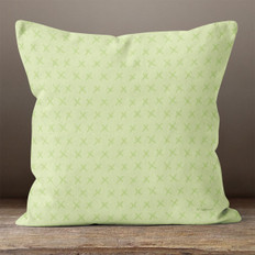 Light Green with Green X's Throw Pillow