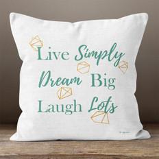 White Linen Live Simply Throw Pillow