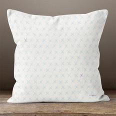 White with Light Blue X's Throw Pillow