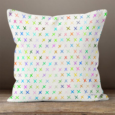 White with Bright Multicolor X's Throw Pillow
