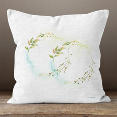 White Linen Floral Rings Throw Pillow