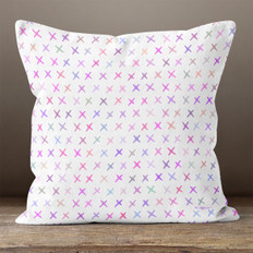 White with Pink & Purple Multicolor X's Throw Pillow