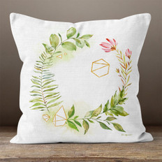 White Linen Flowers and Diamonds Throw Pillow