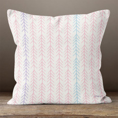 White with Pink Connected Arrows Throw Pillow
