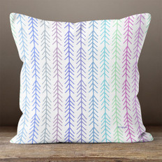 White with Multicolored Connected Arrows Throw Pillow