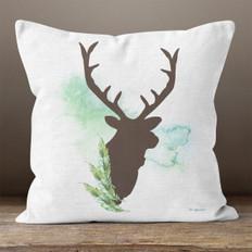 White Linen Buck Throw Pillow