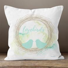 White Linen Love Birds Throw Pillow