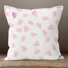 White with Pink Hearts Throw Pillow