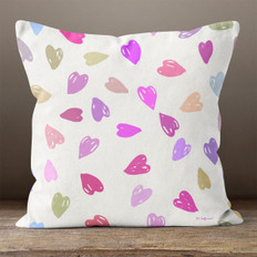 White with Bright Multicolored Hearts Throw Pillow