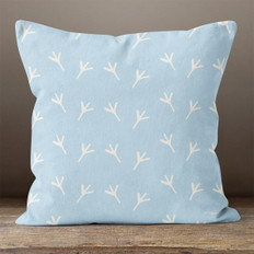Light Blue with White Chicken Foot Prints Throw Pillow