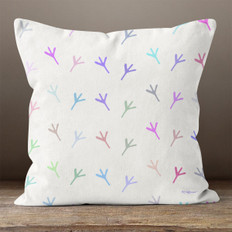 White with Multicolor Chicken Foot Prints Throw Pillow