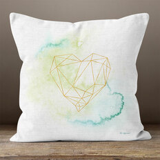 White Linen & Golden Heart Throw Pillow