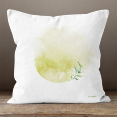 White Watercolor Washed Circle Throw Pillow
