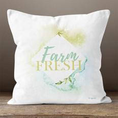 White Watercolor Farm Fresh Throw Pillow