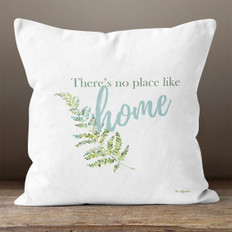 White Floral There's No Place Like Home Throw Pillow
