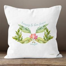 White Floral Mardi Gras Mask Throw Pillow