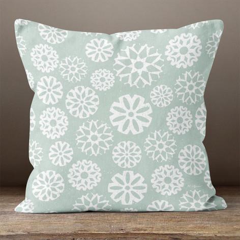 Mint Snowflakes Throw Pillow