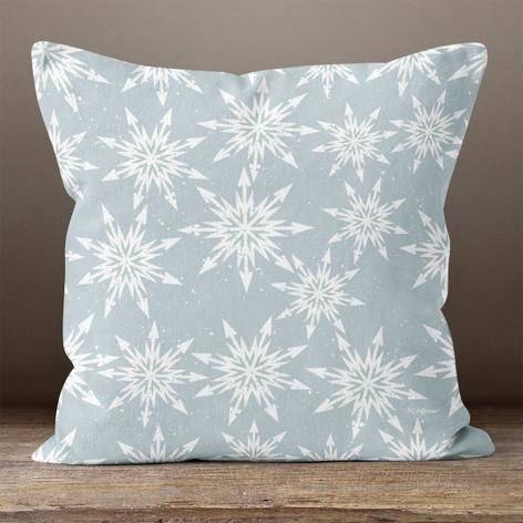Light Blue Arrow Snowflakes Throw Pillow