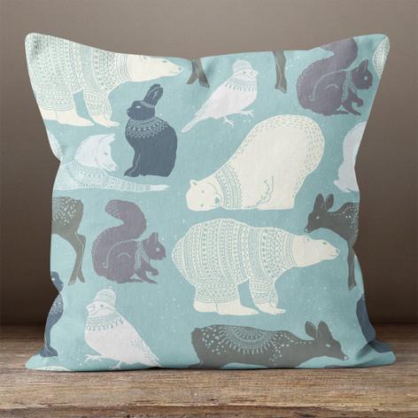 Light Blue Arctic Animals Throw Pillow