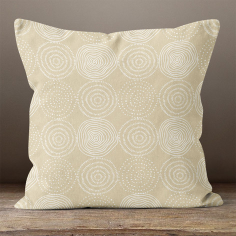 Beige Tree Rings Throw Pillow