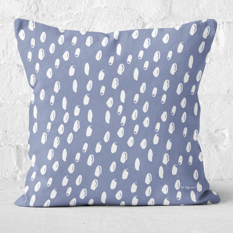 Blue Abstract Dots Throw Pillow