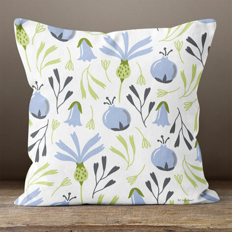 Cream Blueberries Throw Pillow