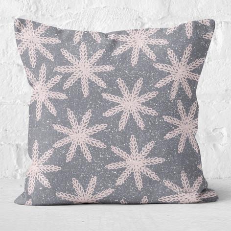 Grey Abstract Snowflakes Throw Pillow