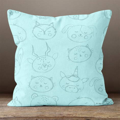 Light Blue Animals Throw Pillow