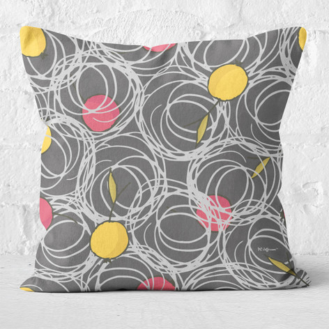 Grey with Abstract Cherries Throw Pillow