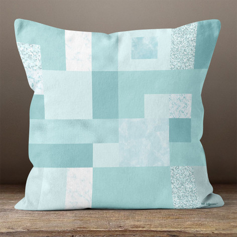 Blue Rectangles and Squares Throw Pillow