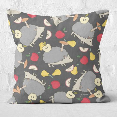 Grey with Hedgehogs & Fruit Throw Pillow