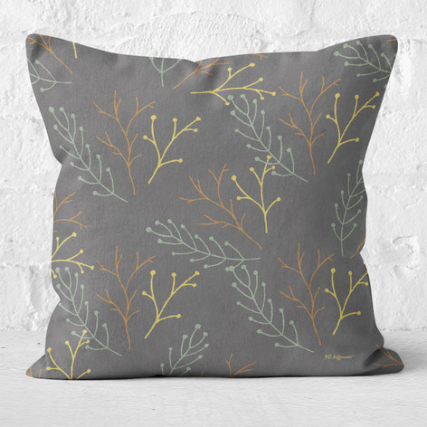 Grey Twigs Throw Pillow