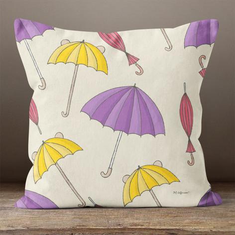 Cream with Colorful Umbrellas Throw Pillow