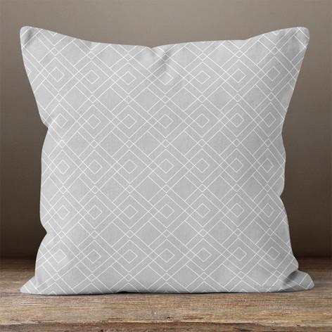 Grey Geometric Pattern Throw Pillow