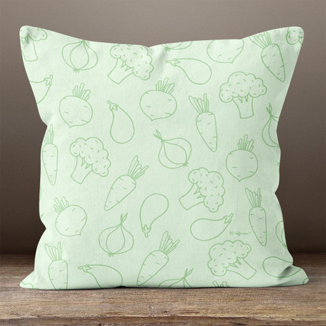 Light Green with Vegetables Throw Pillow