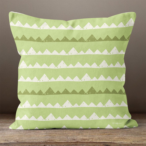 Green with Mountains Throw Pillow