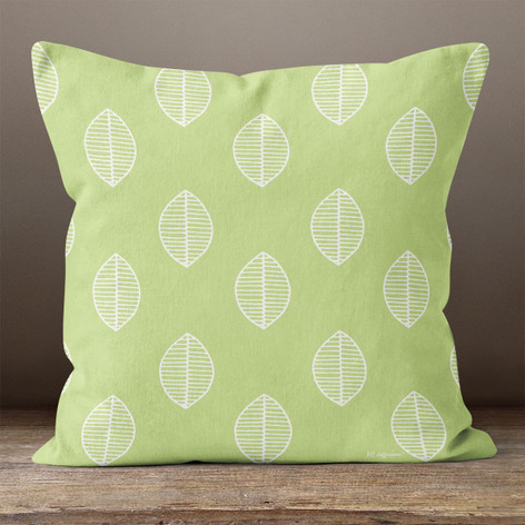 Green with Leaves Throw Pillow