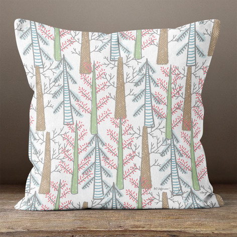 Cream Seasonal Forest Trees Throw Pillow