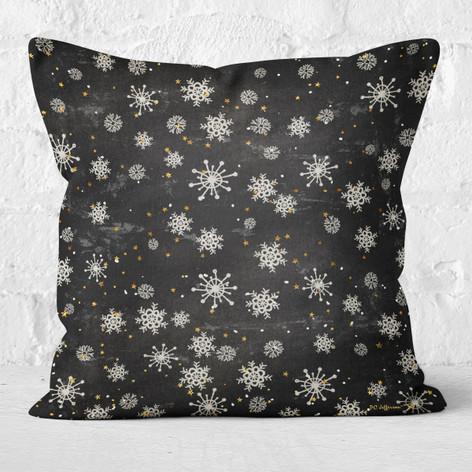 Black with Snowflakes & Stars Throw Pillow