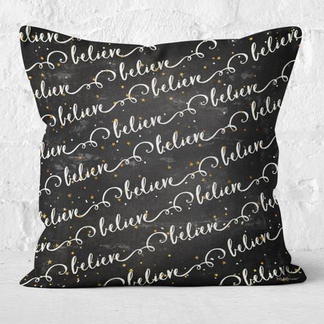 Black Believe Throw Pillow