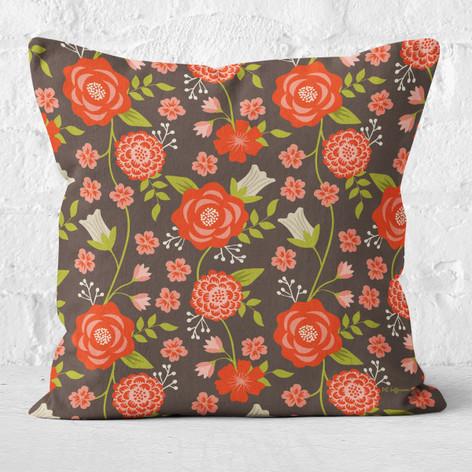 Brown Christmas Flowers Throw Pillow