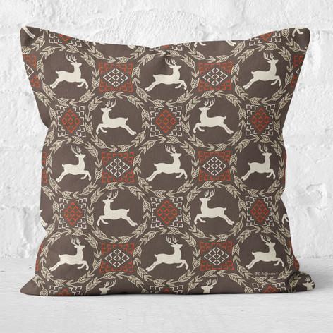 Brown Leaping Deer Circles Throw Pillow