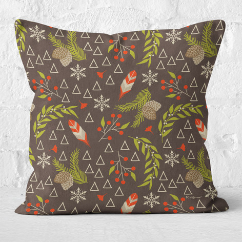 Brown Pinecones and Feathers Throw Pillow