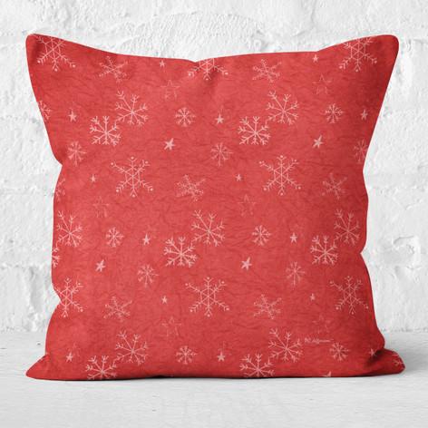 Red Snowflakes & Stars Throw Pillow