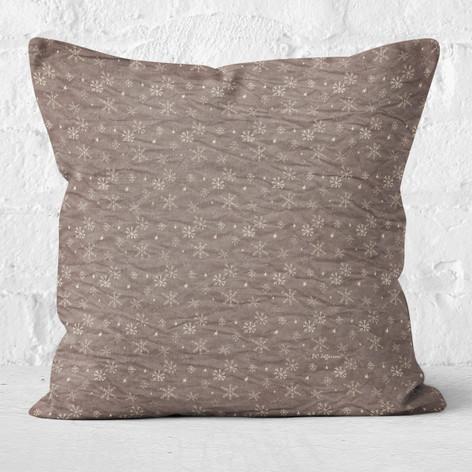 Brown Snowflakes & Stars Throw Pillow